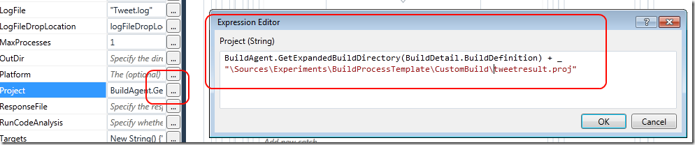 Use Msbuild Custom Action in TFS2010 build with a custom