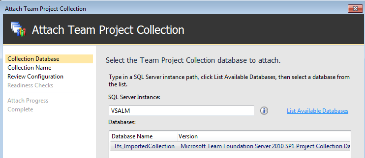 List of available Project Collection to Attach