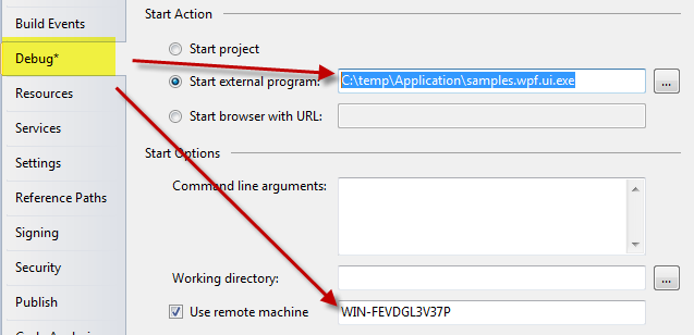 Configure Visual Studio to start and debug a process in the remote machine