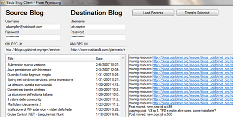 A screenshot of the tool in action while it is migrating my blog