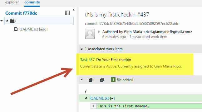 Associate Work Items to check-in in a TF Service Git enabled