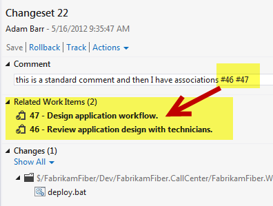 TFS Api to associate work item with check-in using comment