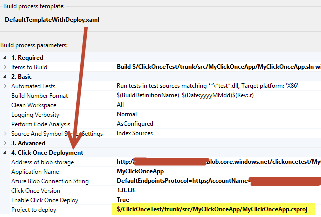 Deploy Click Once application on Azure Blob Container with TFS Build