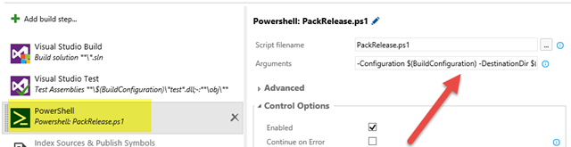 Include a Powershell Task in the build to prepare artifacts folder