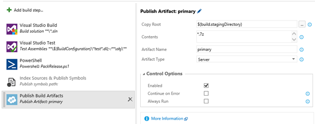 Publish build artifacts taks can be used to publish Powershell output