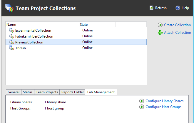 Actual configuration, with PreviewCollection with Lab Management features enabled.