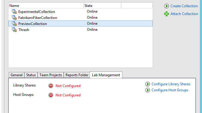 Project collection now have lab management feature disabled