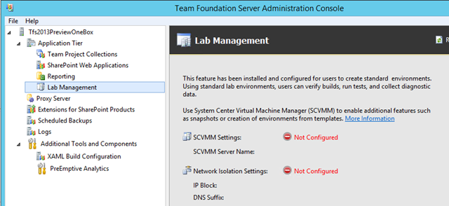 Lab Management is completely removed from your TFS instance