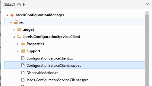 Thanks to source browsing you can easily choose your nuspec file to create package.
