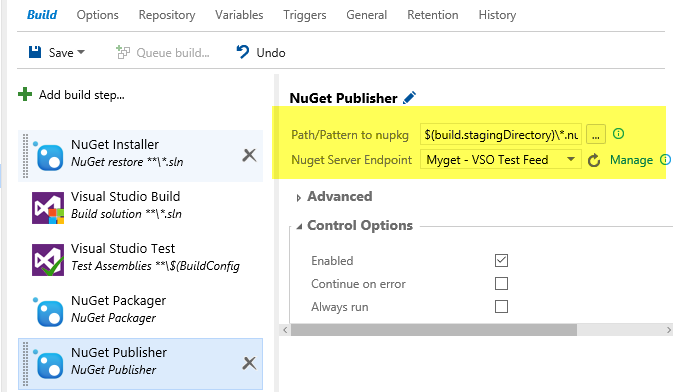 Configuration of NugetPublisher step to publish your package to your feed