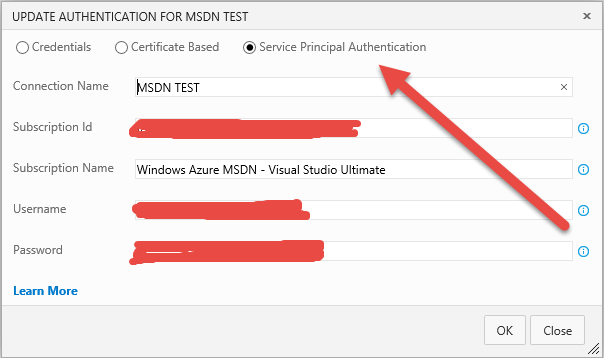 SAmple of configuration of an Endpoint for Azure with Service Principal