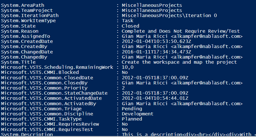 Getting Work Item data in powershell through REST API