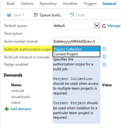 Build Job authorization scope for new build system.