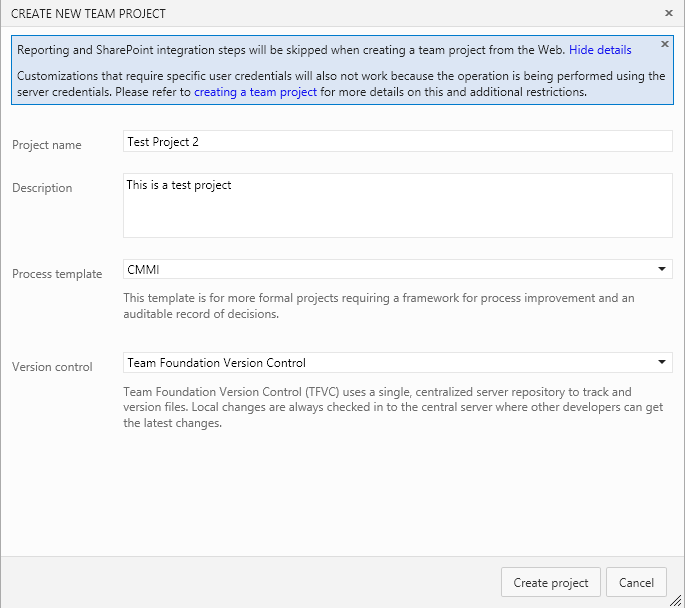 This image shows the dialog in web interface to create a new Team Project. In the top section there is the warning about Sharpoint and Reporting Services