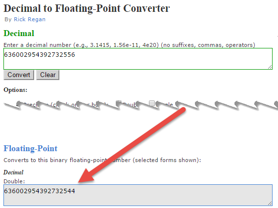 In this image there is a screenshot of the online converter, that exactly demonstrate that the rounding happens due to conversion to floating point number