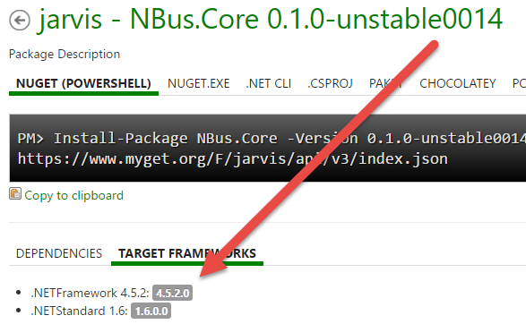 Package details in myget, showing that all targeted framework are included in the package
