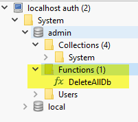 DeleteAllDb function stored inside the admin database.