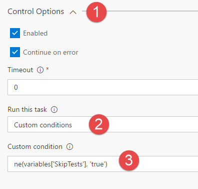 In the control options section of the task configuration you can specify that the task should be run only if a custom condition is met.