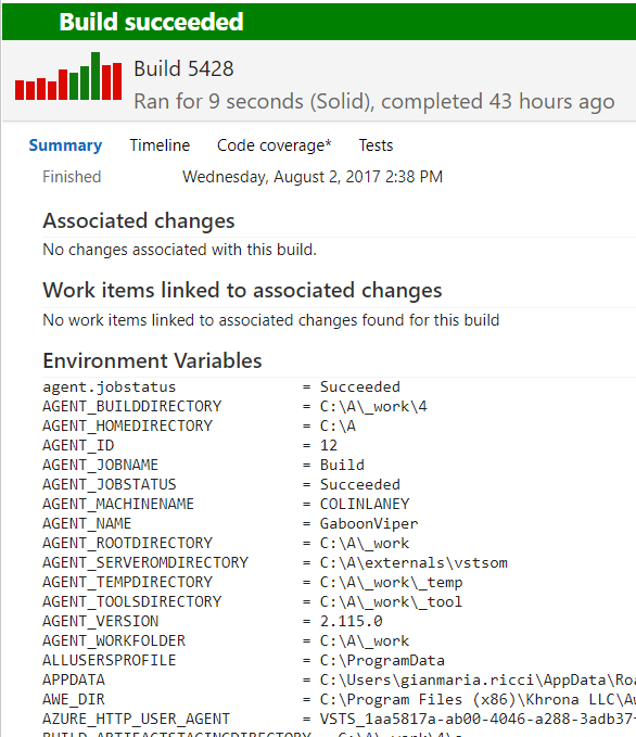 Dump all environment variables during a TFS / VSTS Build