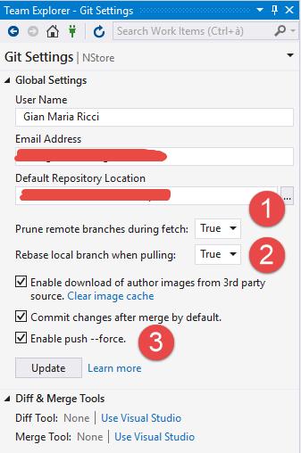Configure Visual Studio 2017 15 5 for pull –rebase
