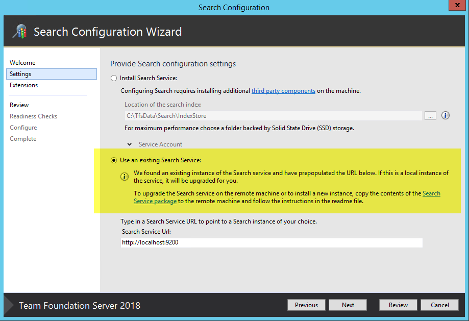 TFS 2018 search components in different server – Alkampfer's