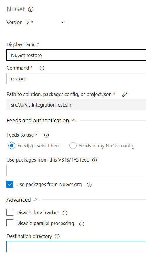 Be sure to use latest version of Nuget Restore Task in VSTS