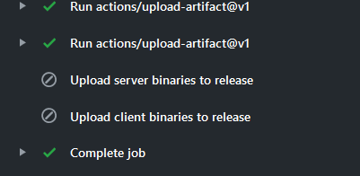Action ran on branch different from master, upload release steps are skipped